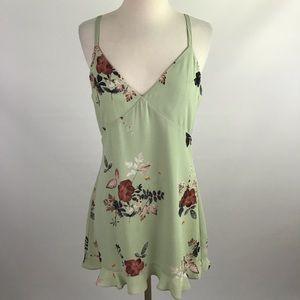 Mint Green Floral Sleeveless Ruffle Hem Dress M